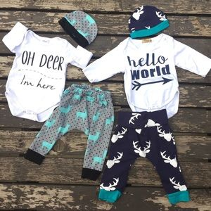 Other - Lot 6 baby outfit set jogger harem pants 0-3 month